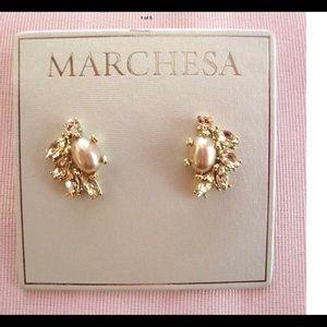 NWT MARCHESA Gold Tone Crystals & Pearl Earrings
